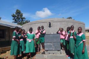 The Water Project: Mwichina Primary School -  Pupils Celebrate The New Rain Tank
