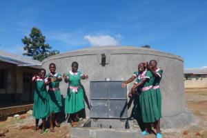 The Water Project: Mwichina Primary School -  Girls Celebrate The Rain Tank