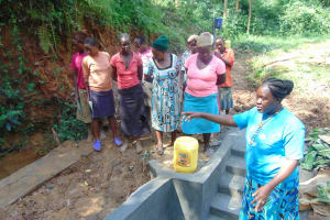 The Water Project: Bumira Community, Imbwaga Spring -  Learning About The Spring Structure During Construction