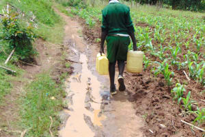 The Water Project: Galona Primary School -  Pupil Carrying Water