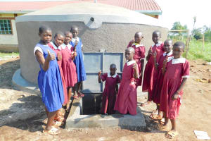 The Water Project: Mulwanda Mixed Primary School -  Girls Pose With The Tank