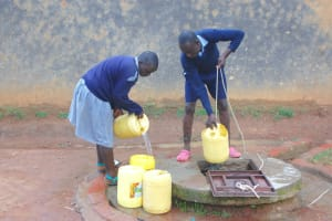 The Water Project: St. Martin's Primary School -  Students Fetching Water