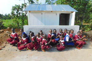The Water Project: Mulwanda Mixed Primary School -  Girls Pose With New Latrines