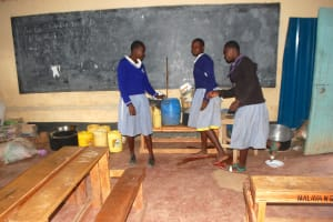The Water Project: St. Martin's Primary School -  Water Storage In A Classroom