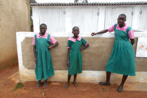 The Water Project: Ebukhayi Primary School -  Girls In Front Of Latrines