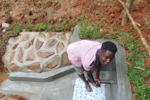 The Water Project: Bumira Community, Imbwaga Spring -  Enjoying The Spring Water