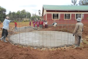 The Water Project: Ebukhuliti Primary School -  Fitting Rebar Skeleton To Foundation