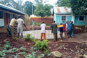 The Water Project: St. Joseph's Lusumu Primary School -  Fitting Rebar Skeleton To Foundation
