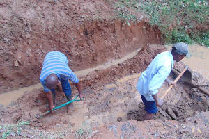 The Water Project: Shivembe Community, Murumbi Spring -  Excavation Begins