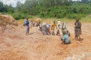 The Water Project: Busichula Community, Marko Spring -  Community Members Sort Pebbles For Large Gravel