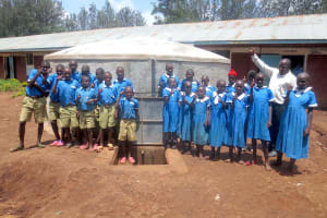 The Water Project: St. Joseph's Lusumu Primary School -  Thumbs Up For Completed Rain Tank