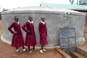 The Water Project: Ebukhuliti Primary School -  Girls Pose With The Rain Tank