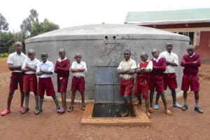 The Water Project: Ebukhuliti Primary School -  Boys Pose With The Rain Tank