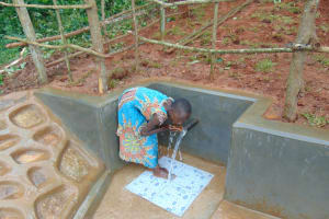 The Water Project: Jivovoli Community, Magumba Spring -  Grabbing A Drink