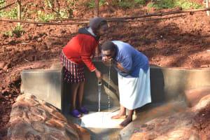 The Water Project: Shikhombero Community, Atondola Spring -  Drinking Directly From The Lifeline