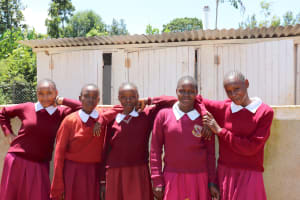 The Water Project: Ebukhuliti Primary School -  Girls In Front Of Their New Latrines