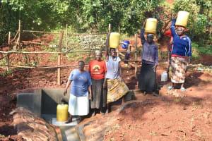 The Water Project: Shikhombero Community, Atondola Spring -  Busy Atondola Spring