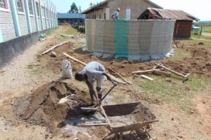 The Water Project: Ebukhayi Primary School -  Tank Covered In Sugar Sacks For Internal Cement Work