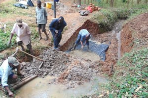The Water Project: Shivembe Community, Murumbi Spring -  Laying Spring Foundation