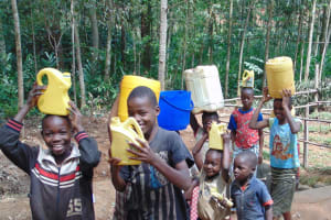 The Water Project: Shivembe Community, Murumbi Spring -  Kids Happy To Have Clean Water