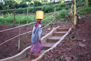 The Water Project: Busichula Community, Marko Spring -  Stairs Help Ease The Access To And From The Spring