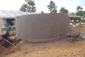 The Water Project: Mwichina Primary School -  Rain Tank Walls And Interior Pillar Cemented