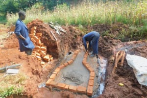 The Water Project: Shikhombero Community, Atondola Spring -  Brick Work