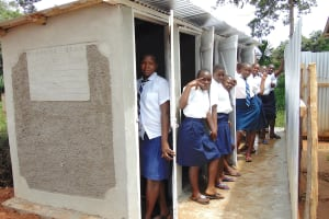 The Water Project: Kamimei Secondary School -  Girls Pose With New Latrines