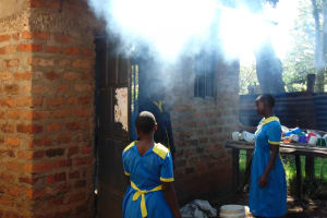 The Water Project: Gimomoi Primary School -  Students Outside The Kitchen