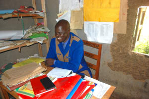 The Water Project: St. Martin's Primary School -  Mr Wanjala At His Desk