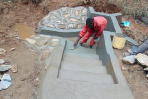 The Water Project: Kisasi Community, Edward Sabwa Spring -  Stair Plastering