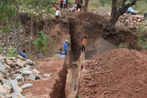 The Water Project: Utuneni Community B -  Trenching For Dam Wing Walls