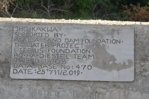 The Water Project: Kithumba Community D -  Dam Plaque
