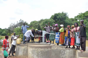 The Water Project: Kaketi Community A -  Pumping Water From The Well