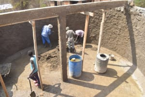 The Water Project: AIC Mbao Primary School -  Inside Tank Under Construction