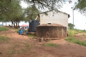 The Water Project: Kamuwongo Primary School -  Small And Old Rainwater Tanks