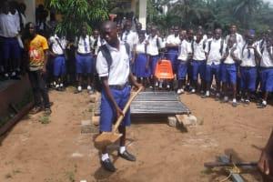 The Water Project: Lokomasama, Musiya, Nelson Mandela Secondary School -  Students Help Break Ground For The New Well