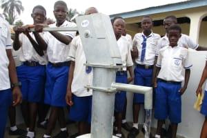 The Water Project: Lokomasama, Musiya, Nelson Mandela Secondary School -  Students Pump The Well