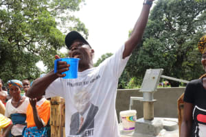 The Water Project: Lungi, Yaliba Village -  Sheika Turay Head Man Rejoicing For Safe Water