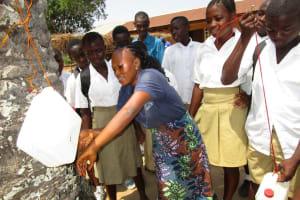 The Water Project: Lungi, Komkanda Memorial Secondary School -  Tippy Tap Demonstration