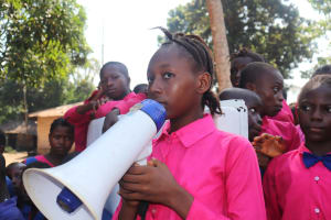 The Water Project: Lungi, Lungi Town, Holy Cross Primary School -  Head Girl Making A Speech