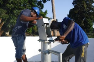 The Water Project: Lungi, Lungi Town, Holy Cross Primary School -  Pump Installation