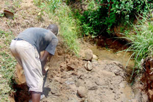 The Water Project: Mwichina Community, Matanyi Spring -  Excavation Begins
