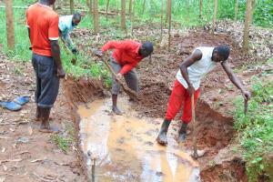 The Water Project: Imusutsu Community, Ikosangwa Spring -  Excavation Begins