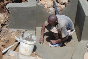 The Water Project: Mwichina Community, Matanyi Spring -  Preparing For Tile Placement