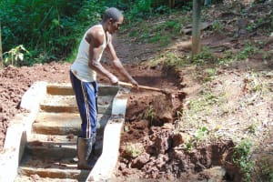 The Water Project: Imusutsu Community, Ikosangwa Spring -  Site Clearance Around Stairs