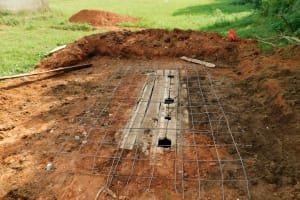 The Water Project: Bumbo Primary School -  Foundation Outlined Over Latrine Pits