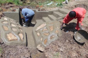 The Water Project: Mukangu Community, Metah Spring -  Cement Works