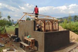 The Water Project: Friends School Ikoli Secondary -  Framing Latrine Roof