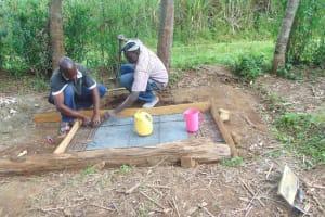 The Water Project: Bukhaywa Community, Shidero Spring -  Sanitation Slab Construction